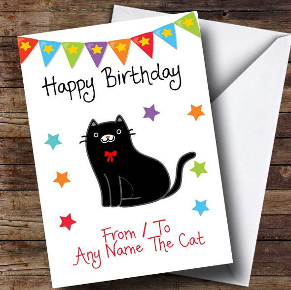 To From Cat Black Personalised Birthday Card