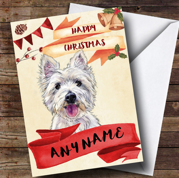 Watercolour Rustic Westie West Highland Terrier Dog Personalised Christmas Card