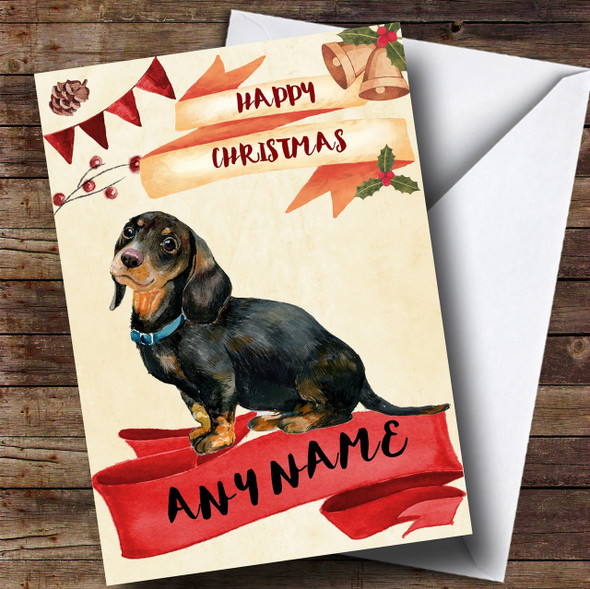 Watercolour Rustic Watercolour Dachshund Dog Personalised Christmas Card