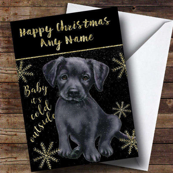 Cold Outside Snow Dog Black Labrador Personalised Christmas Card