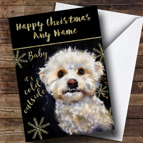 Cold Outside Snow Dog Bichon Frise Personalised Christmas Card