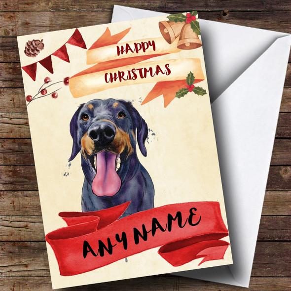 Watercolour Rustic Dog Doberman Personalised Christmas Card