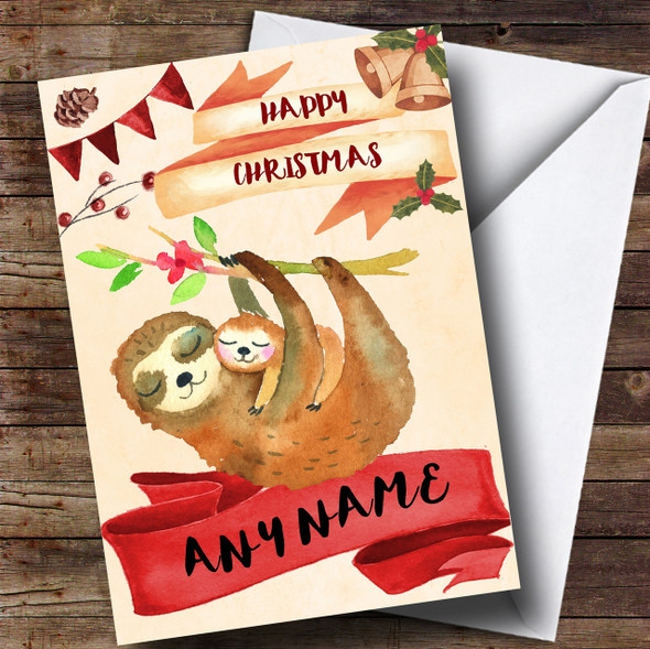 Watercolour Rustic Sloth & Baby Personalised Christmas Card