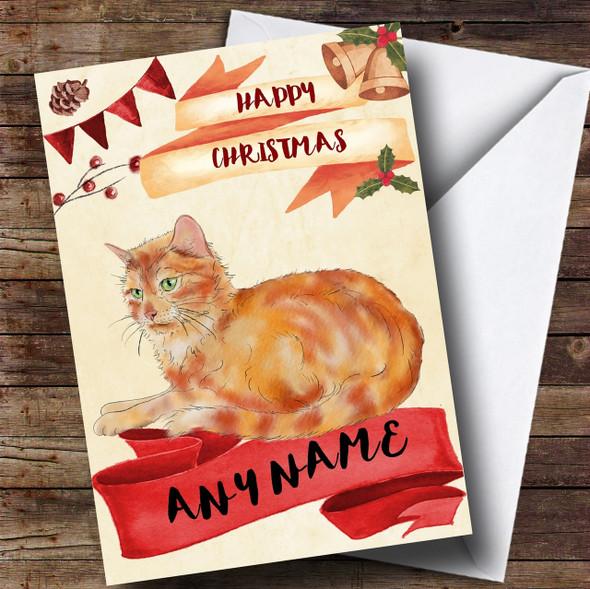 Watercolour Rustic Ginger Cat Personalised Christmas Card