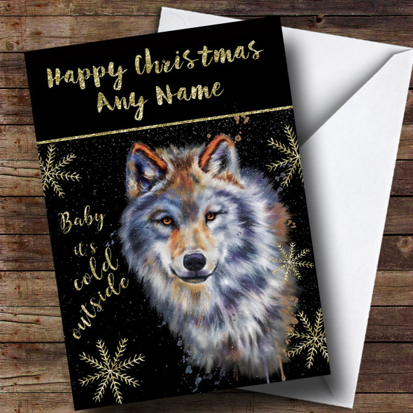 Cold Outside Snow Dog Wolf Personalised Christmas Card