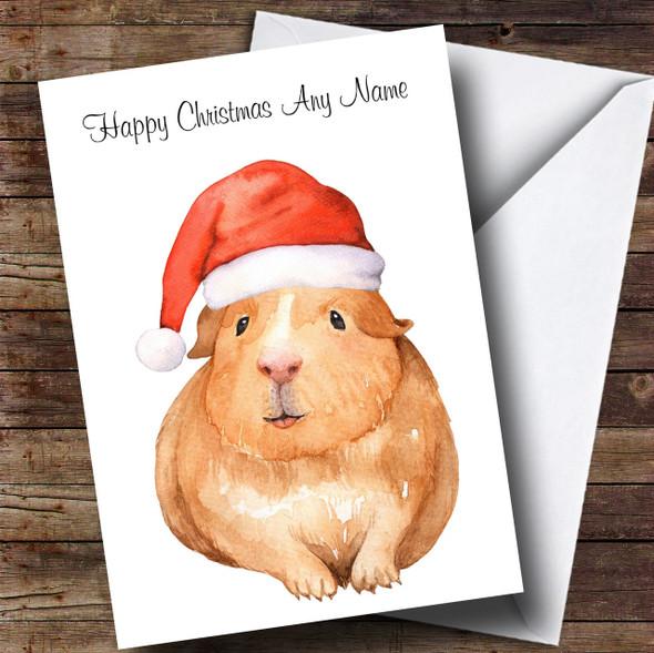 Cute Watercolour Guinea Pig Santa Hat Personalised Childrens Christmas Card
