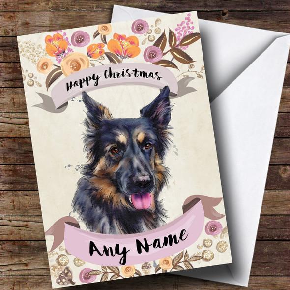 Rustic Gold Dog German Shepherd Personalised Cute Christmas Card