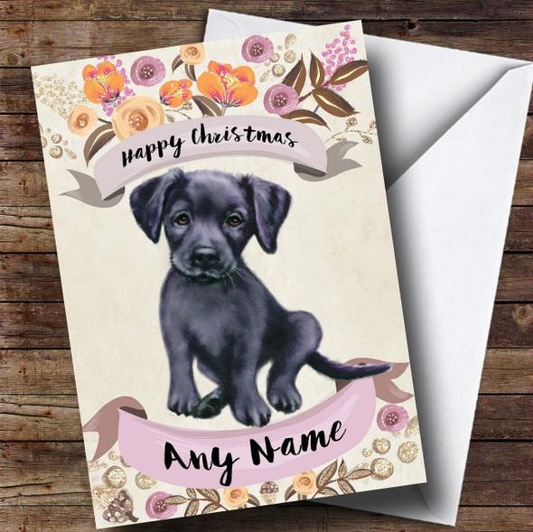 Rustic Gold Dog Black Labrador Personalised Cute Christmas Card
