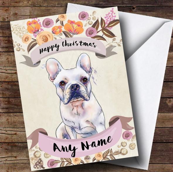 Rustic Gold Dog French Bulldog Personalised Cute Christmas Card