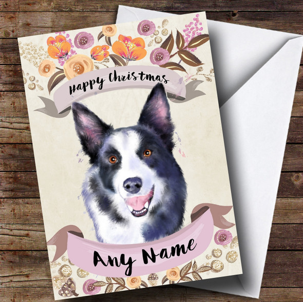 Rustic Gold Dog Border Collie Personalised Cute Christmas Card