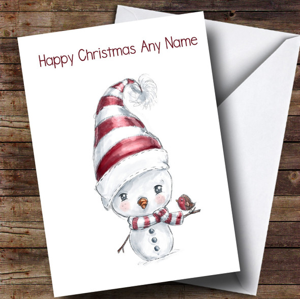 Doodle White Snowman & Robin Personalised Cute Christmas Card