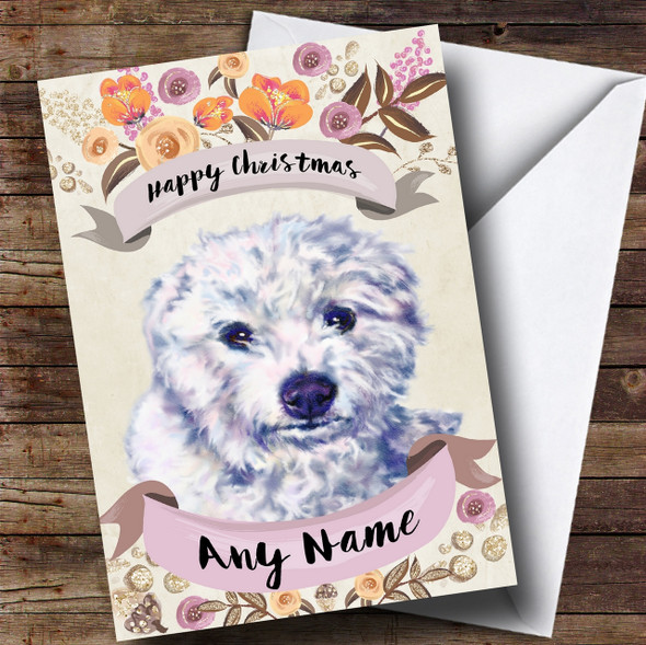 Rustic Gold Dog Bichon Frise Personalised Cute Christmas Card