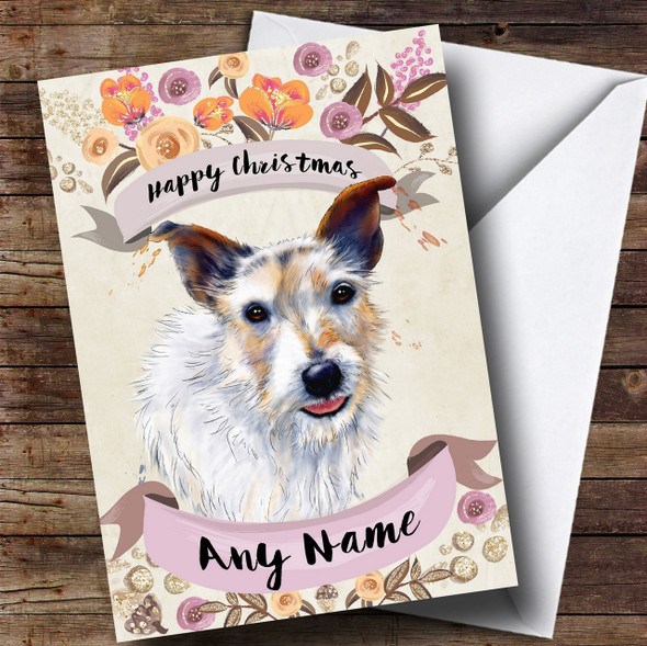 Rustic Gold Dog Jack Russell Personalised Cute Christmas Card