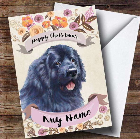 Rustic Gold Dog Newfoundland Personalised Cute Christmas Card