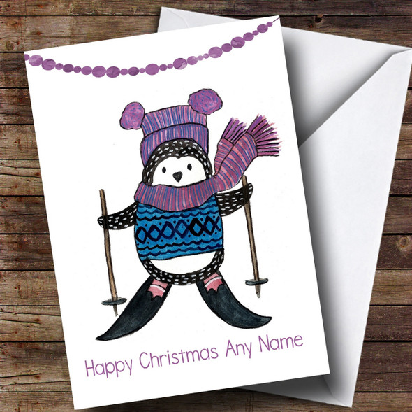 Doodle White Penguin Skiing Personalised Cute Christmas Card