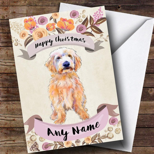 Rustic Gold Dog Labradoodle Personalised Cute Christmas Card