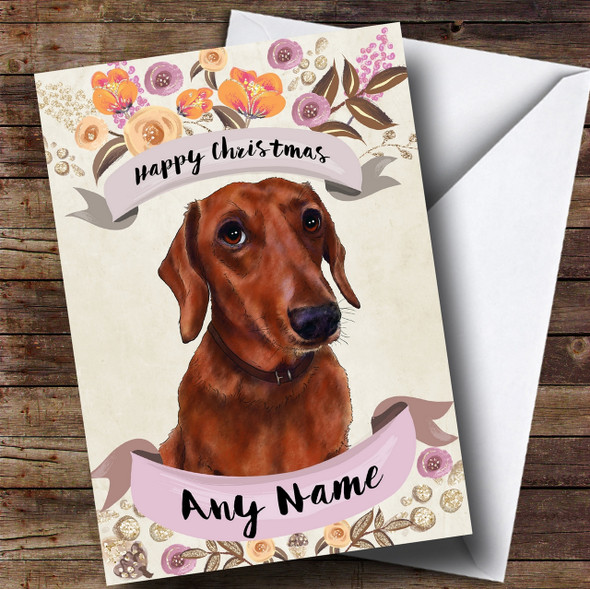 Rustic Gold Dog Dachshund Personalised Cute Christmas Card