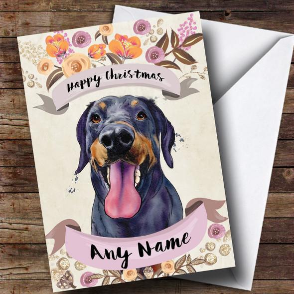 Rustic Gold Dog Doberman Personalised Cute Christmas Card