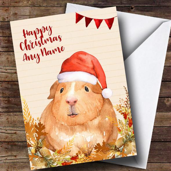 Gold Foliage Guinea Pig Personalised Cute Christmas Card