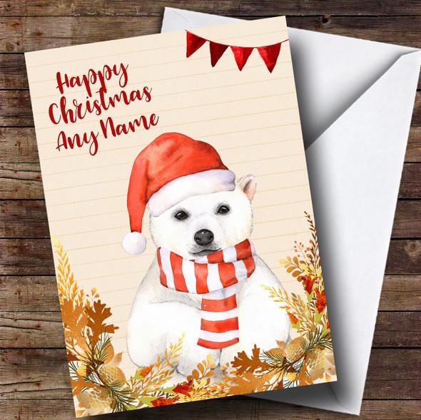 Gold Foliage Polar Bear Personalised Cute Christmas Card