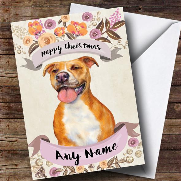 Rustic Gold Dog Pitbull Personalised Cute Christmas Card