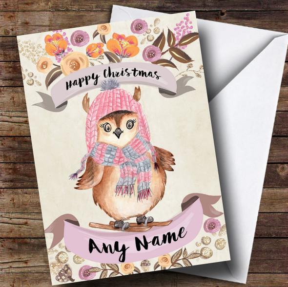 Rustic Gold Skiing Owl Personalised Cute Christmas Card