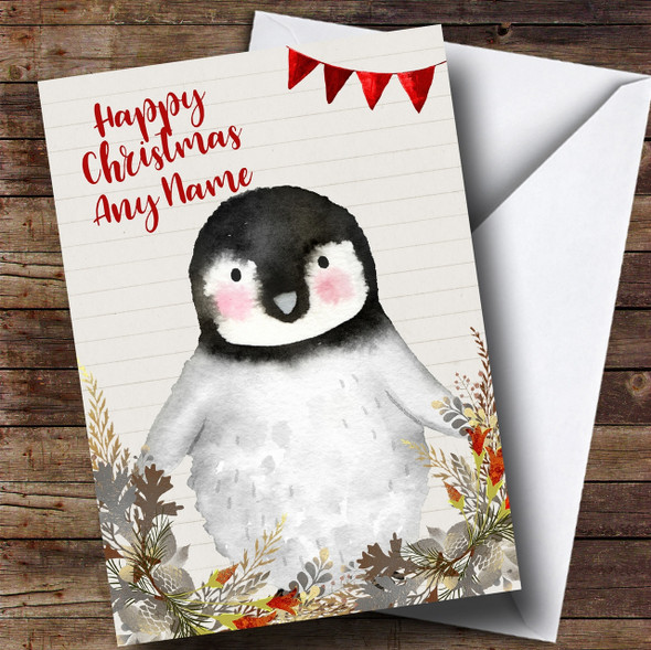 Silver Foliage Raccoon Personalised Cute Christmas Card