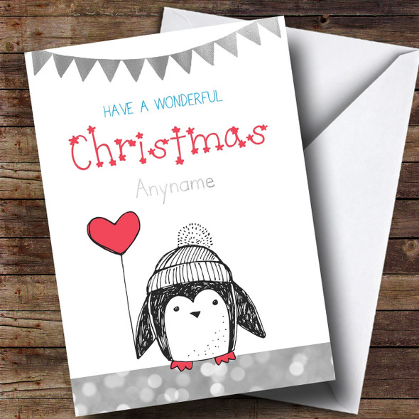 Silver Glitter Penguin Personalised Cute Christmas Card