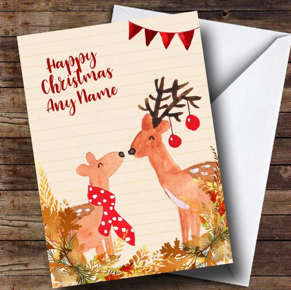 Gold Foliage Reindeer Personalised Cute Christmas Card