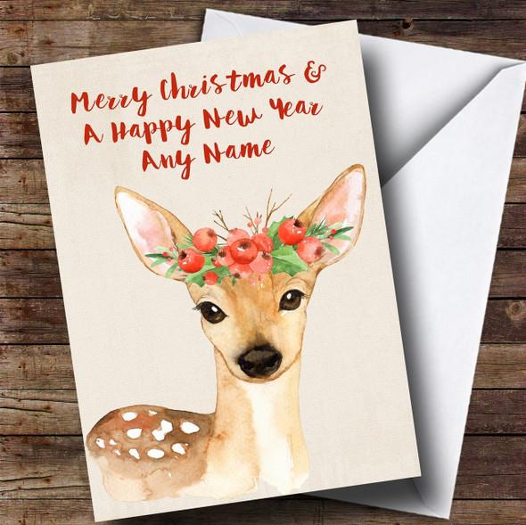 Watercolour Xmas Deer Personalised Cute Christmas Card