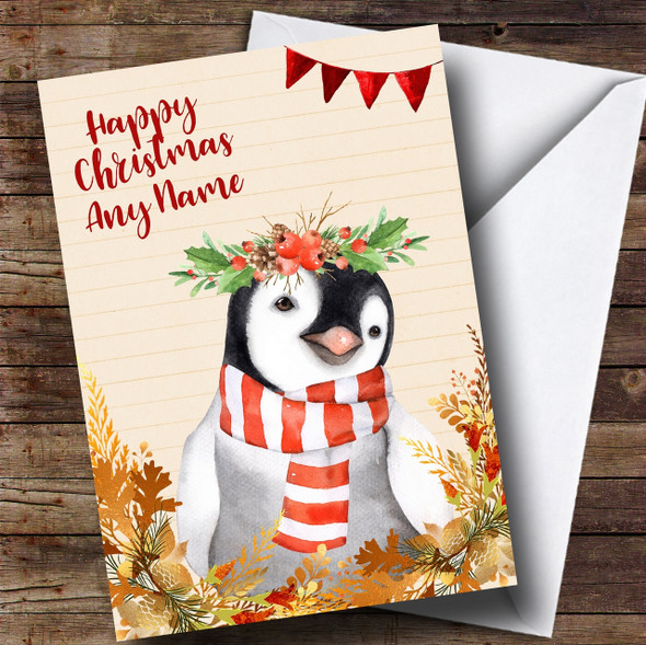 Gold Foliage Penguin Personalised Cute Christmas Card