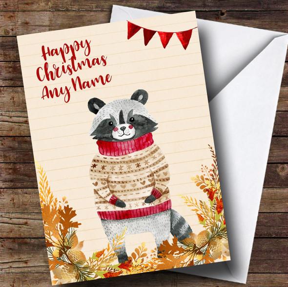 Gold Foliage Raccoon Personalised Cute Christmas Card