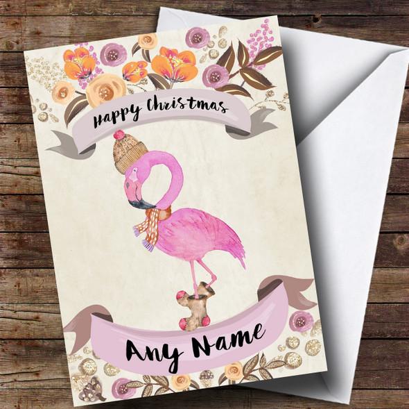 Rustic Gold Flamingo Personalised Cute Christmas Card