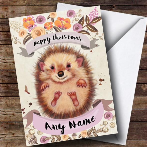 Rustic Gold Hedgehog Personalised Cute Christmas Card