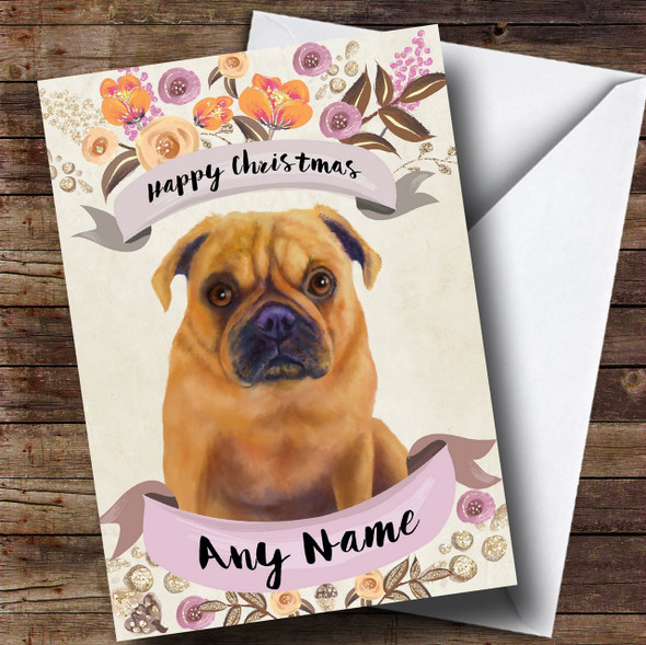 Rustic Gold Dog Pug Personalised Cute Christmas Card