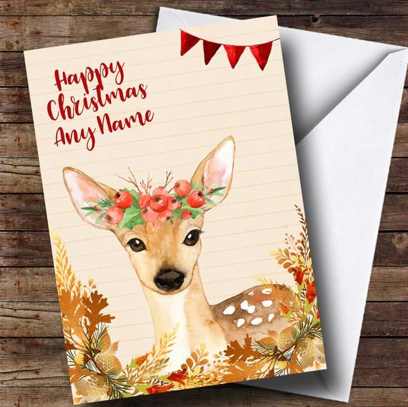 Gold Foliage Deer Personalised Cute Christmas Card