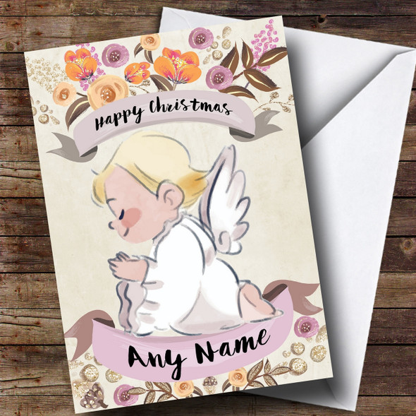 Rustic Gold Angel Personalised Cute Christmas Card