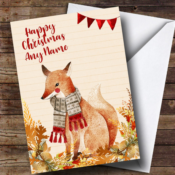 Gold Foliage Fox Personalised Cute Christmas Card