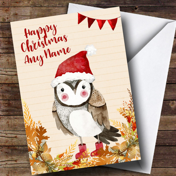 Gold Foliage Owl Personalised Cute Christmas Card
