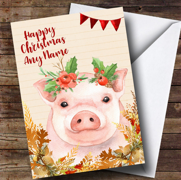 Gold Foliage Pig Personalised Cute Christmas Card