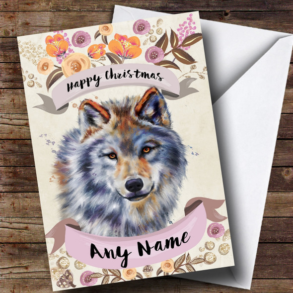 Rustic Gold Wolf Personalised Cute Christmas Card