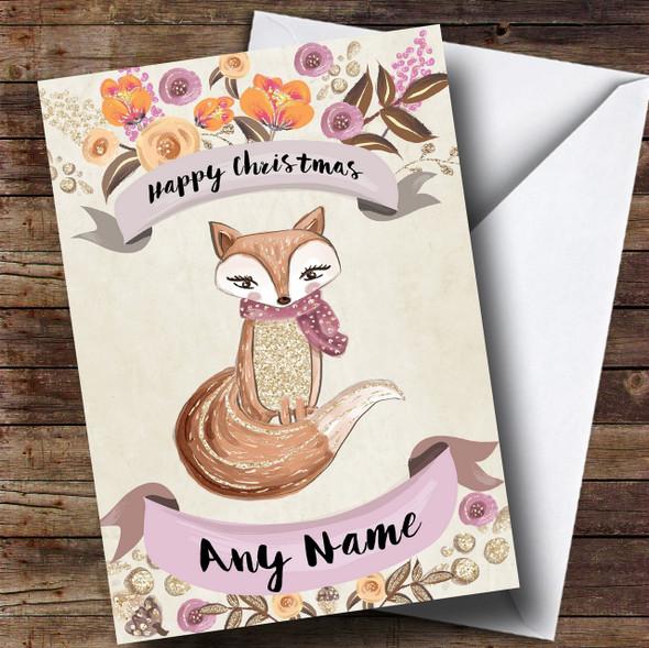Rustic Gold Fox Personalised Cute Christmas Card