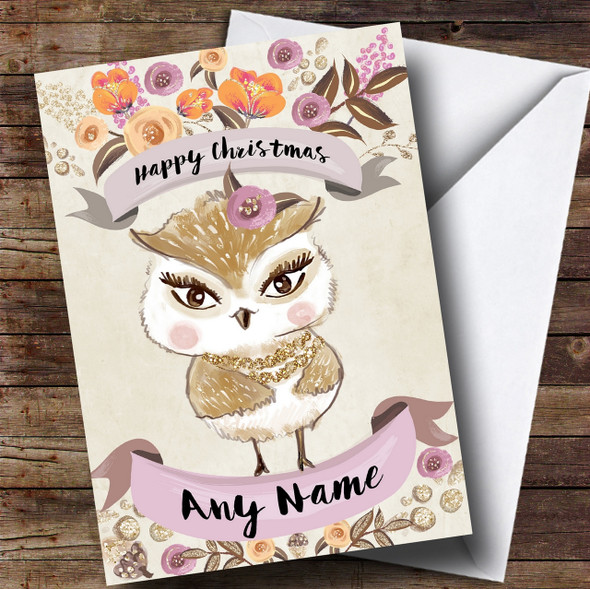 Rustic Gold Owl Personalised Cute Christmas Card