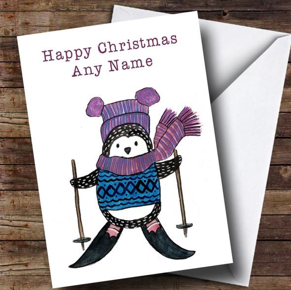 Skiing Penguin Personalised Cute Christmas Card