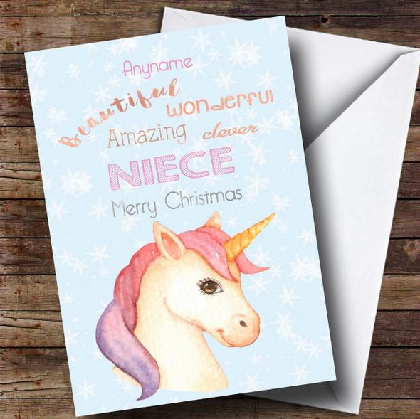 Niece Pretty Unicorn Personalised Christmas Card