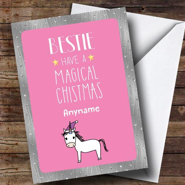 Best Friend Unicorn Personalised Christmas Card