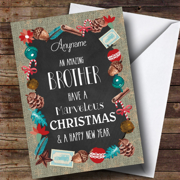 Brother Burlap Personalised Christmas Card