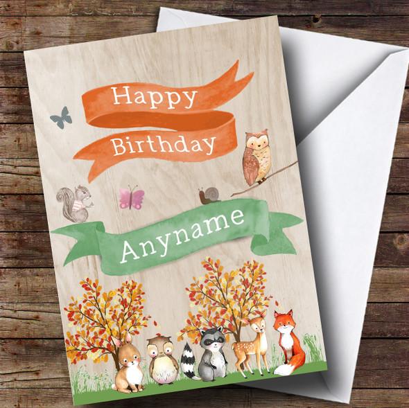 Cute Woodland Animals Children's Birthday Personalised Card
