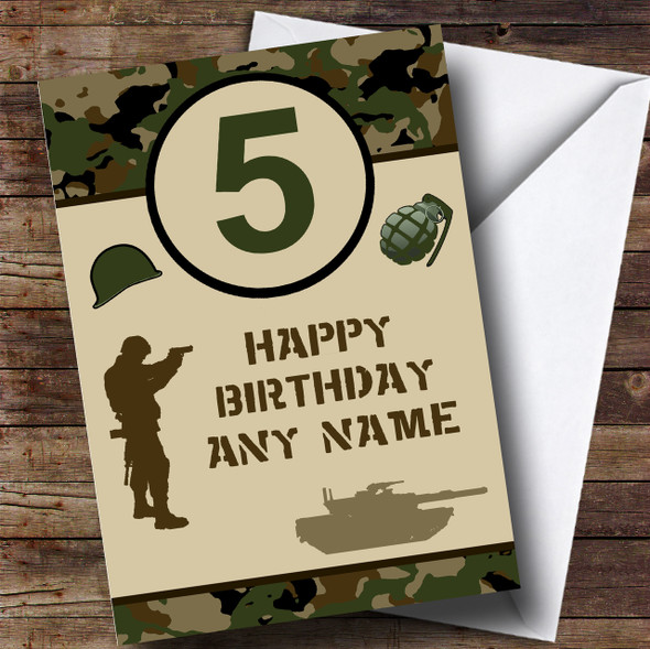 Army Age Green Camo Children's Birthday Personalised Card