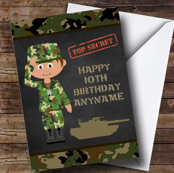 Green Boy Camo Army Children's Birthday Personalised Card